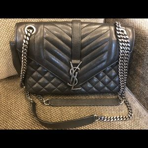 YSL Medium Monogram Quilted Calfskin Shoulder Bag